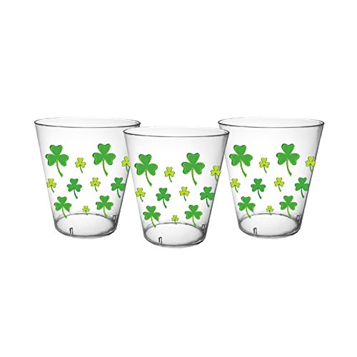 Party Essentials N24034 40Count Hard Plastic 2 oz Printed Shot Glasses, Shamrocks, - Printed Glasses