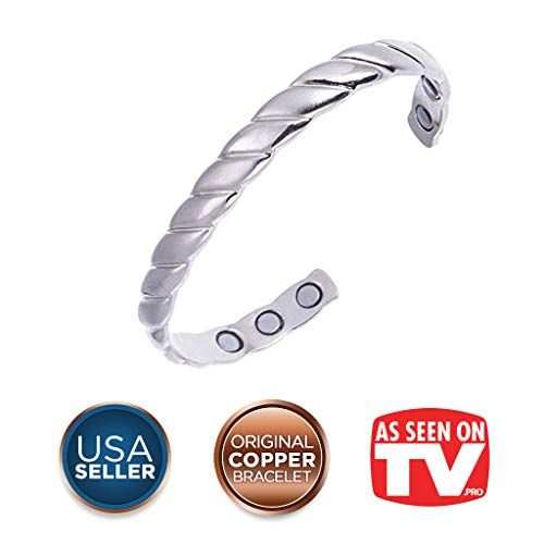 (Earth Therapy, The Original Copper Magnetic Healing Bracelet for Arthritis, Carpal Tunnel, and Joint Pain Relief – Silver-Plated Braided Style – Adjustable - For Women)