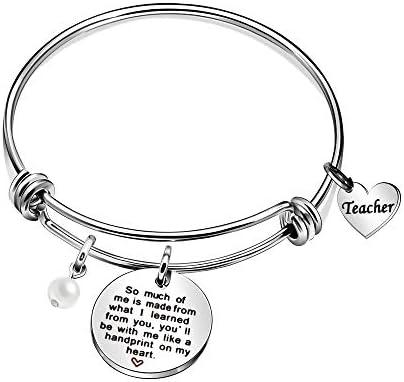 Type 2 CAROMAY Teacher Bracelets Appreciation Gift Teachers Day Graduation Adjustable Heart Pendant Bangles from Class