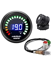 Air-Fuel Ratio Meter Smoke Face Auto AFR Racing Gauge 52MM Air Fuel Ratio 20:1-10:1 Narrowband O2 Oxygen Sensor Car Gauge for 12V Car 0258006028 Durable Waterproof and Clear