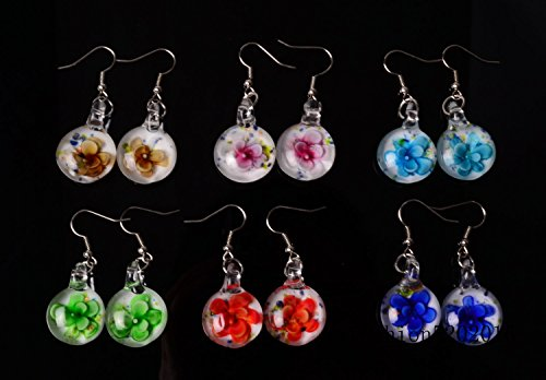 12Pairs lot Flower Round Murano Glass Bead Silver Plated Earrings