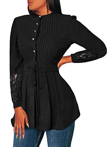 Happy Sailed Women Long Sleeve Button Down Crinkle Chest Lace Panel Peplum Blouse Shirts XX-Large Black