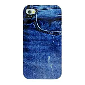 Zaki- The Jeans Pattern TPU Material Soft Back Cover Case for iPhone 4/4S