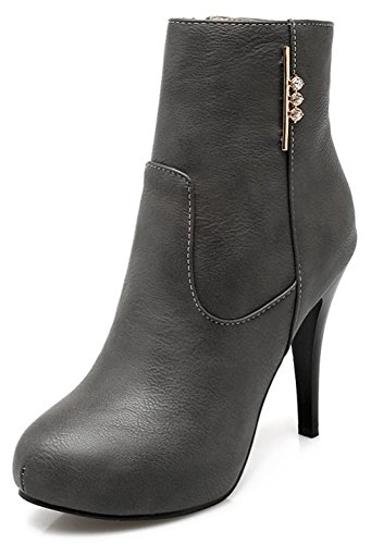 With Dressy High Booties Heel Round Easemax Ankle Stiletto Zipper Toe Grey High Women's OqnSv