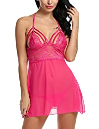 Avidlove Womens Slim Lace Cups Strappy Babydoll lingerie Mesh Chemise