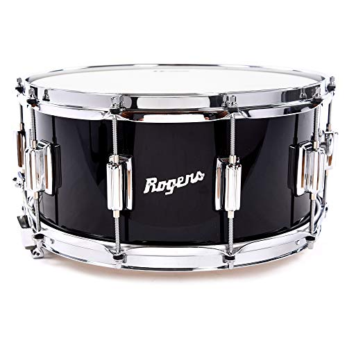 (Rogers Dyna-Sonic 6.5x14 Classic Snare Drum Black Lacquer)