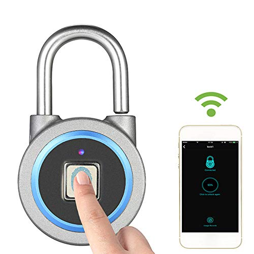 (Fingerprint Padlock Waterproof IP65 Smart Biometric Lock Bluetooth for Android/iOS Mobile Control GPS Tracking with USB Charging Battery Keyless Padlock for Door Cabinet Bike Backpack Suitcase Fence)