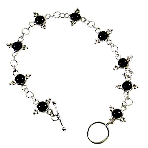 Gemsonclick Genuine Black Onyx 925 Sterling Silver Bracelets For Women Gift Toggle Clasps L 6.5 to 8 Inch