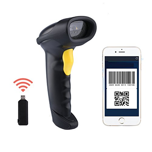 NADAMOO 2D Wireless Barcode Scanner (2-in-1 433Mhz wireless & USB2.0 Wired) 1D QR PDF417 Data Matrix Bar Code Scanner Cordless CCD Image Barcode Reader for Mobile Payment Computer Screen by NADAMOO