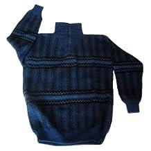 Alpakaandmore Men Turtleneck Sweater, Alpaca Wool Douple Knitted Pullover Blue