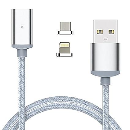 YSF Cable de 1 m Micro USB y cargador de imán de 8Pin 2 en 1 cable para iphone y android Plata