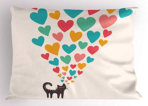 Cat Lover Pillow Sham, Cute Cat in Love with Colorful Different Size Hearts Happy Sweet Kitty Clipart, Decorative Standard Queen Size Printed Pillowcase, 30 X 20 inches, Multicolor