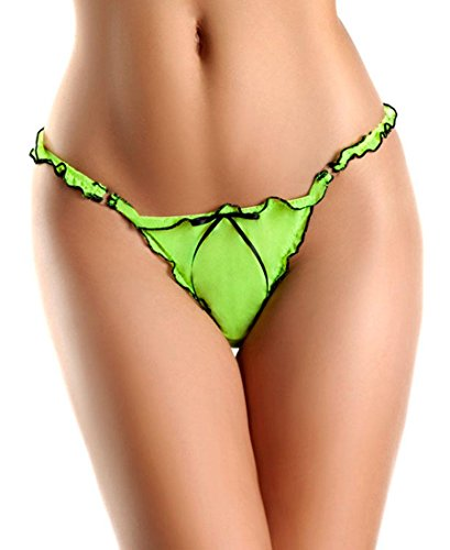Be-Wicked-BW1303GB-Womens-Green-and-Black-Mesh-Thong-With-Ruffles-And-Bow