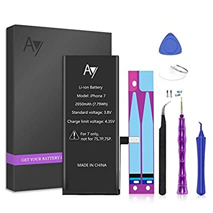 iPhone 7 Battery Replacement 2050mAh with Complete Repair Tools Kit, Adhesive, and Instructions 0 Cycle - 1 Year Warranty by AY AYIPE iPhone7