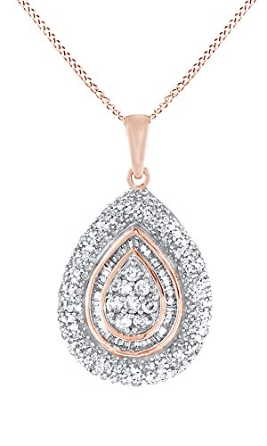 Jewel Zone US White Natural Diamond Teardrop Pendant Necklace in 10k Rose Gold (1 Cttw)