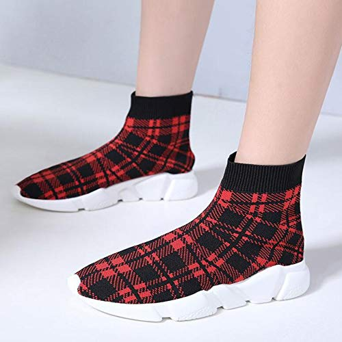 Bottom Large Women's Red Women's Boots Flat Size Ankle Knit Boots Boots Fashion Autumn Boots Stretch Overshoes Boots zwS1zUY