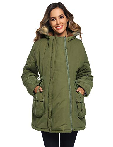 Womens Maternity Jacket 3 in 1 Pregnancy Hooded Parka Coat Removable Panel Babywearing Jacket Coat Army Green