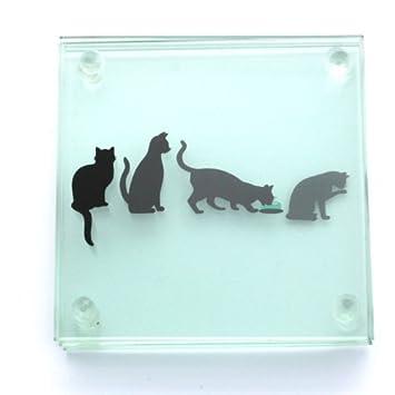 Compra Juego de 4 posavasos de cristal Story diseño de gatos - diferentes en cada completo con forma de diseño de apilar cuando de fotos de madera de en ...