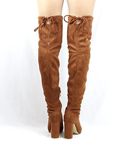 Jacobies Over The Knee Chunky High Heel Block Chunky Thigh High Round Toe Boots Camel 1dNm6I0