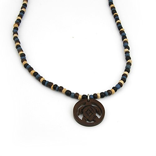 - Fashion Necklace Organic Wooden Beads Circle Carved Tribal Celtic Turtle Coconut Shell Pendant