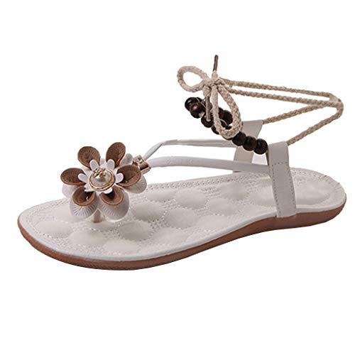Women Boho Flat Sandals, ❤️ FAPIZI Grils Clip Toe Flowers Lace-Up Sandals Casual Beaded Straps Beach Rome Sandals Shoes White