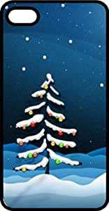 Snow Covered Christmas Tree on Blue Background Tinted Rubber Case for Apple iPhone 4 or iPhone 4s