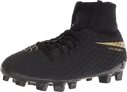 Nike JR Hypervenom Phantom 3 Academy Dynamic Fit FG (Black/Metallic Vivid Gold) (5Y) (Gold And Black Nike Elite Socks)