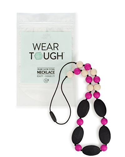 Baby Teething Necklace for Mom by Wear Tough (Pink, Jet Black, - Amber Black Jet