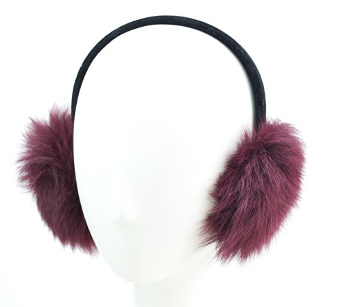 Surell Genuine Soft Toscana Sheepskin Fur Earmuffs (Wine) with Black Non Adjustable Velvet Head Band - Winter Fashion Ear Warmers - Perfect Elegant Women