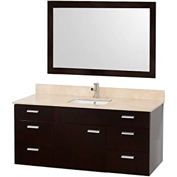 Wyndham Collection Encore 52 Inch Single Bathroom Vanity In Espresso With  Ivory Marble Top With White