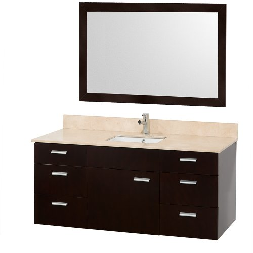 52 Inch Vanity (Wyndham Collection Encore 52 inch Single Bathroom Vanity in Espresso with Ivory Marble Top with White Porcelain Undermount Square Sink)