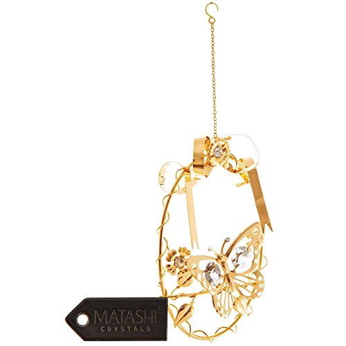 24K Gold Plated Crystal Studded Butterfly In A Vine Entwined Hoop Ornament by Matashi