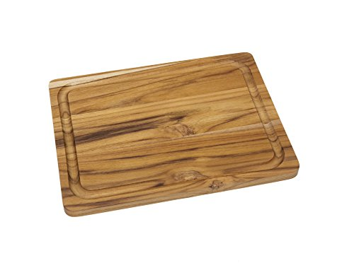 (Lipper International 7215 Teak Wood Edge Grain Kitchen Cutting and Serving Board, Small, 12