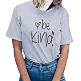 Letter Solid Tops, 2019 QIQIU Womens Summer Short Sleeve be Kind Prints T-Shirt Top Blouse Tee Grey