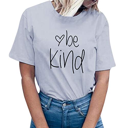 TWGONE Be Kind Tshirts Women Cute Graphic Blessed Shirt Letter Print Short Sleeve Tops Blouse Tee(XXX-Large,Gray)