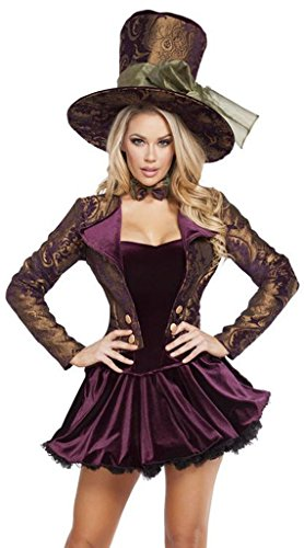 Sexy Mad Hatters Gothic Tea Party Halloween Costume - Purple/Gold - Small (Sexy Mad Hatter Costumes)
