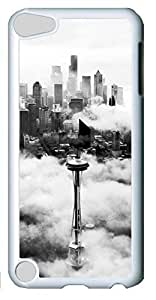 Fashion Customized Case for iPod Touch 5 Generation White Cool Plastic Case Back Cover for iPod Touch 5th with Smoggy Cities