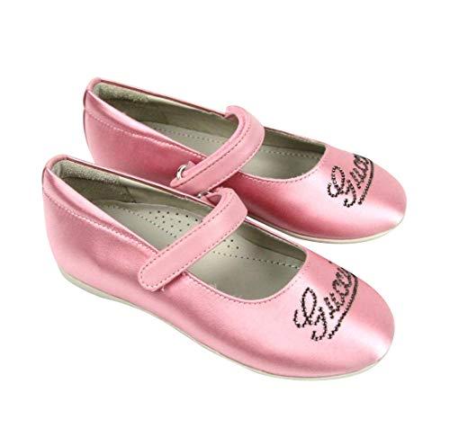 Card Flat Ballerina (Gucci Kids Pink Satin Daisy Ballet Flat with Strass 271301 (G 32 / US 1))