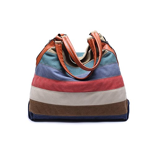 VRIKOO Leisure Canvas Top Handle Shoulder Tote Handbag Color Block Striped Crossbody Bag for Women