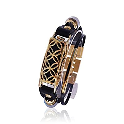 Fitbit Bracelet Fusion - FitBit flex Jewelry - Black/Gold - 925 sterling silver - rhodium plated- real leather