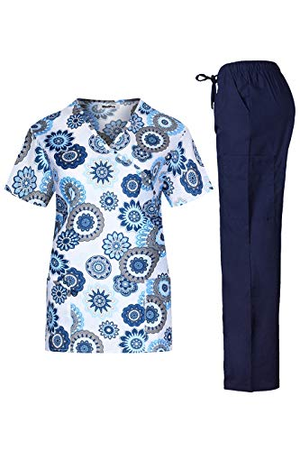 (MedPro Women's Printed Medical Scrub Set Mock Wrap Top and Pants White Navy S)