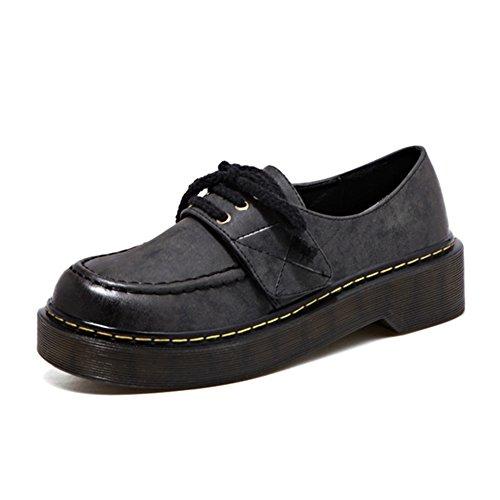 T-july Chaussures Oxfords Pour Femmes - Confortables Chaussures À Lacets Bout Rond