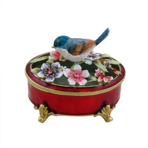UPC 633232588895, Blue Bird Oval Trinket Box Red Multicolor Flowers