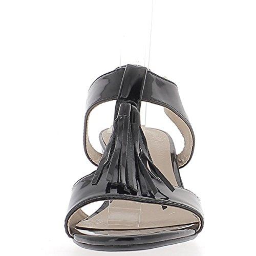 Dipinto piccoli tacchi sandali neri spessore 6cm con ampie flange