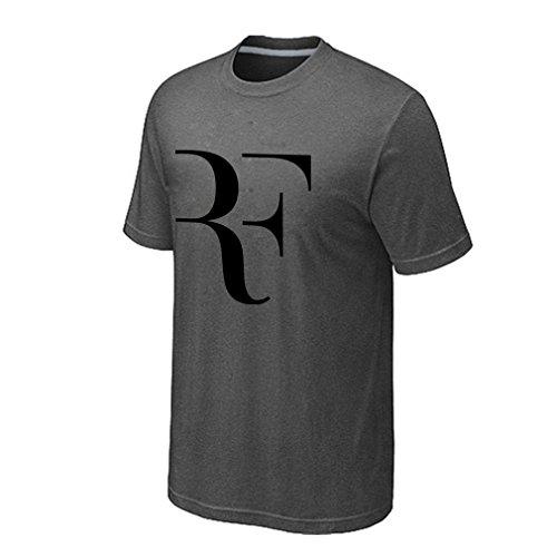 Vi-Fi Men's Roger RF Tennis Fans T-Shirt (Gray Medium)