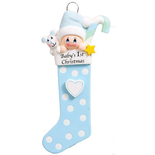 Personalized Baby's 1st Christmas Long Stocking Tree Ornament 2019 - Boy Glitter Hat Candy Cane Mouse Polka Dot Heart First New Mom Shower Gift Grandson - Free Customization (Blue) -