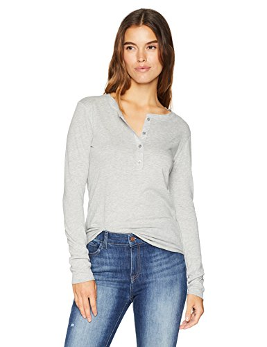 (Majestic Filatures Women's Cotton/Cashmere Long Sleeve Henley, Brume Chine, 1)