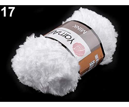 1pc 17 (345) Snow White Fluffy Knitting Yarn 50g Mink, Knitting, Crochet, Embroidery, Haberdashery