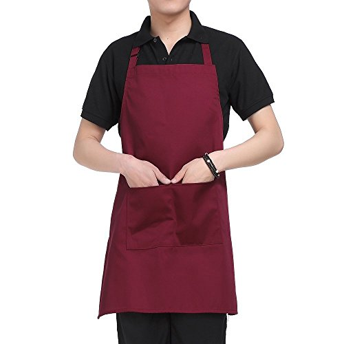 Two-Pockets-Adjustable-Bib-Adult-Apron-Extra-Long-Ties-Heavy-duty-kitchen-apron-Money-apron-Waitresses-apron-Cooking-Kitchen-Aprons-for-Women-Red-295-x-245