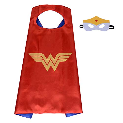 Pawbonds Halloween Costume Superhero Dress Up for Kids - Best Christmas, Birthday Gift, Cosplay Party. Satin Cape and Felt Mask Role Play Set. Cartoon Outfit for Boys and Girls (Wonderwoman)